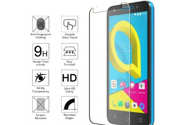 Фирменное защитное закалённое противоударное стекло для телефона Alcatel A3 PLUS 3G 5011A из качественного японского материала премиум-класса с олеофобным покрытием