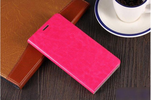 Фирменный чехол-книжка из качественной водоотталкивающей импортной кожи для Alcatel A3 PLUS 3G 5011A розовый