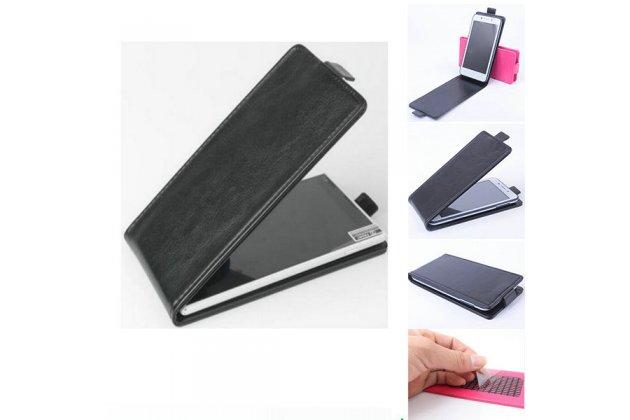 Фирменный оригинальный вертикальный откидной чехол-флип для Alcatel A3 PLUS 3G 5011A черный из натуральной кожи Prestige