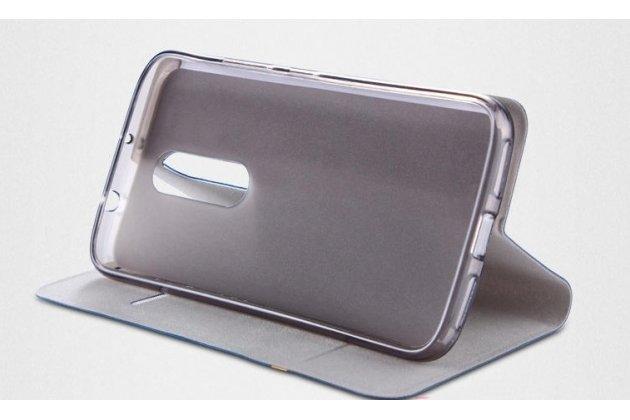 Фирменный чехол-книжка из качественной импортной кожи с мульти-подставкой и визитницей для Alcatel 3C 5026D с полосой серо-черный