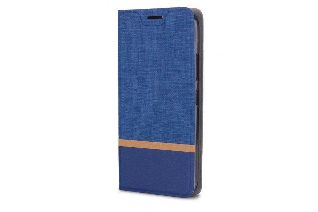 Фирменный чехол-книжка из качественной импортной кожи с мульти-подставкой и визитницей для Alcatel 3C 5026D с полосой синий