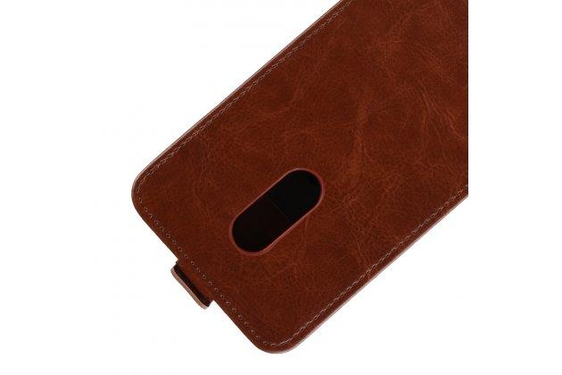 Фирменный оригинальный вертикальный откидной чехол-флип для Alcatel 3C 5026D коричневый из натуральной кожи Prestige