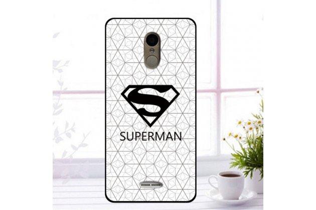 """Фирменная роскошная задняя панель-чехол-накладка  из мягкого силикона с безумно красивым расписным 3D рисунком на Alcatel 3C 5026D """"тематика Superman"""""""