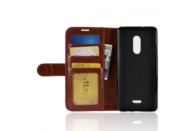 Фирменный чехол-книжка из качественной импортной кожи с подставкой застёжкой и визитницей для Alcatel 3C 5026D коричневый