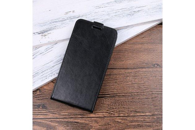 Фирменный оригинальный вертикальный откидной чехол-флип для Alcatel 3C 5026D черный из натуральной кожи Prestige