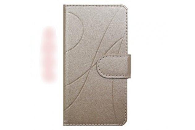 Фирменный чехол-книжка из качественной импортной кожи с подставкой застёжкой и визитницей для Alcatel 3C 5026D золотой