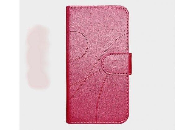 Фирменный чехол-книжка из качественной импортной кожи с подставкой застёжкой и визитницей для Alcatel 3C 5026D розовый