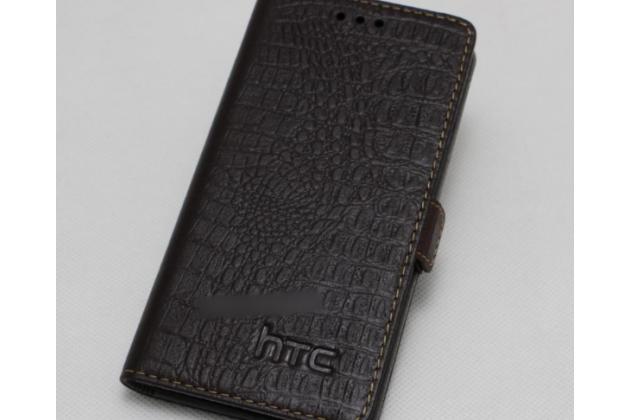 Фирменный оригинальный подлинный чехол с логотипом для HTC Desire 12 из натуральной кожи крокодила коричневый