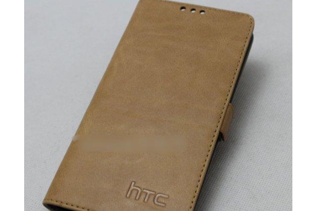 Фирменный оригинальный подлинный чехол с логотипом для HTC Desire 12 из натуральной кожи  светло-коричневый