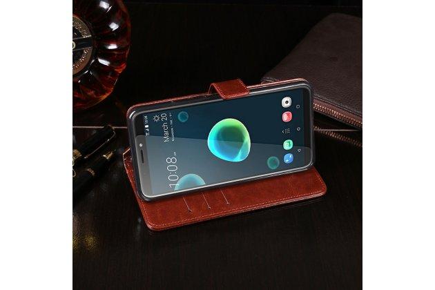Фирменный чехол-книжка из качественной импортной кожи с подставкой застёжкой и визитницей для HTC Desire 12 коричневый