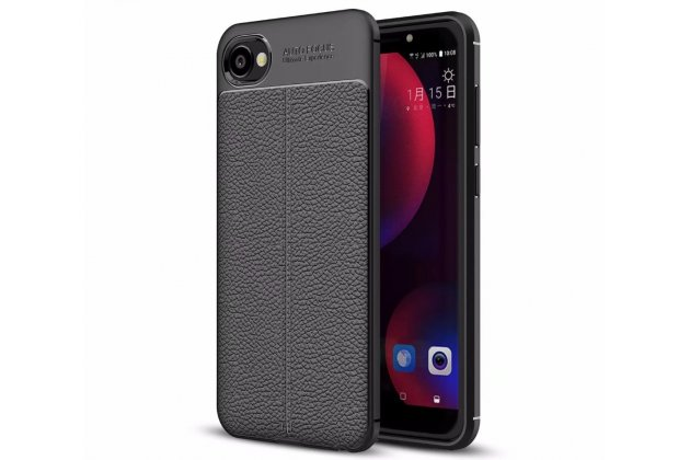 Фирменная премиальная элитная крышка-накладка на HTC Desire 12 черная из качественного силикона с дизайном под кожу