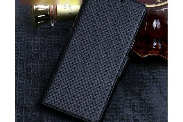 Фирменный роскошный эксклюзивный чехол с фактурной прошивкой рельефа кожи и визитницей черный для HTC Desire 12. Только в нашем магазине. Количество ограничено