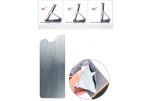 Фирменный чехол-книжка водоотталкивающий с мульти-подставкой на жёсткой металлической основе для HTC Desire 12 черный из настоящей джинсы