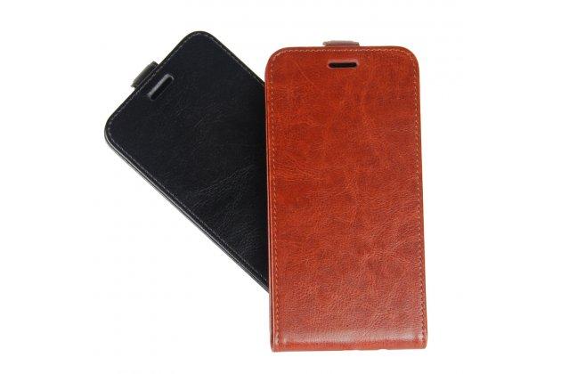 Фирменный оригинальный вертикальный откидной чехол-флип для HTC Desire 12 коричневый из натуральной кожи Prestige