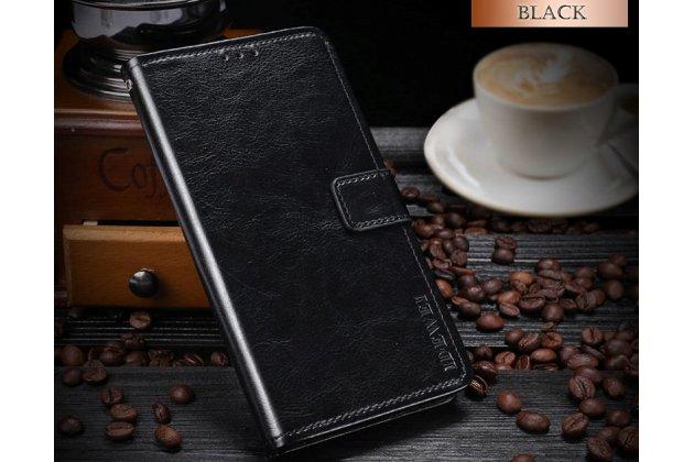 Фирменный чехол-книжка из качественной импортной кожи с подставкой застёжкой и визитницей для HTC Desire 12 черный