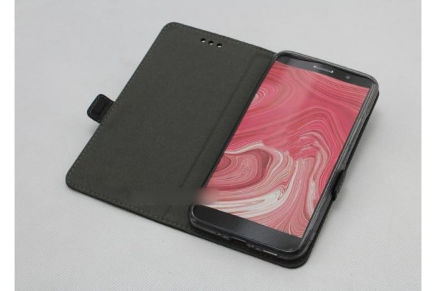 Фирменный оригинальный подлинный чехол с логотипом для HTC Desire 12 из натуральной кожи крокодила черный