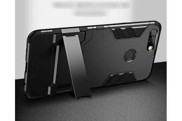 Противоударный усиленный ударопрочный фирменный чехол-бампер-пенал для Huawei Honor 7C/ Huawei Honor Play 7A High черный