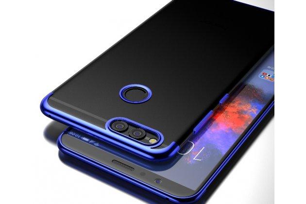 Фирменная задняя панель-чехол-накладка с защитными заглушками с защитой боковых кнопок для Huawei Honor 7C/ Huawei Honor Play 7A High прозрачная синяя
