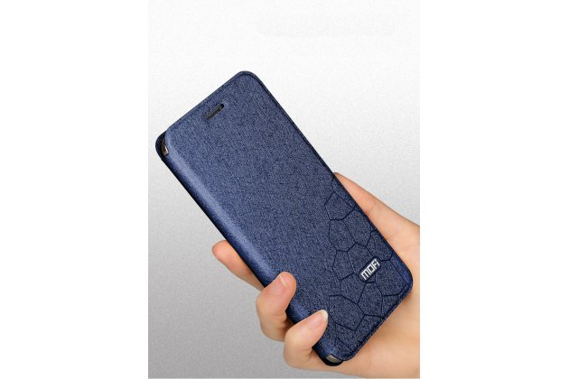 Фирменный чехол-книжка водоотталкивающий с мульти-подставкой на жёсткой металлической основе для Huawei Honor 7C Pro/ Play 7C/ Y7 Prime 2018/ Nova 2 Lite  синий