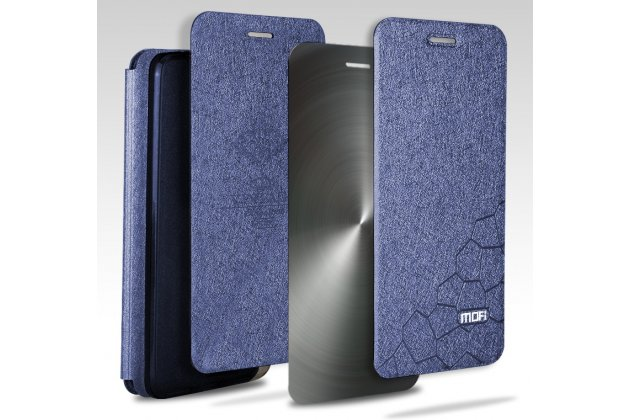 Фирменный чехол-книжка водоотталкивающий с мульти-подставкой на жёсткой металлической основе для Huawei Honor 7C/ Huawei Honor Play 7A High синий