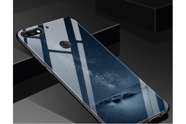 """Фирменный ультра-тонкий силиконовый чехол-бампер для Huawei Honor 7C Pro/ Play 7C/ Y7 Prime 2018/ Nova 2 Lite с закаленным стеклом на заднюю крышку телефона """"тематика Ночь"""""""