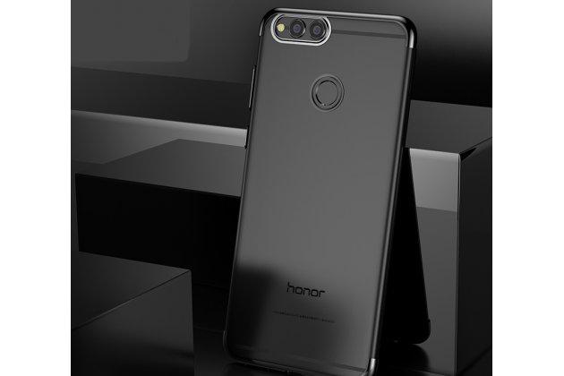 Фирменная задняя панель-чехол-накладка с защитными заглушками с защитой боковых кнопок для Huawei Honor 7C/ Huawei Honor Play 7A High прозрачная черная