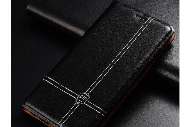 Фирменный премиальный элитный чехол-книжка из качественной импортной кожи с мульти-подставкой и визитницей для Huawei Honor 7C/ Huawei Honor Play 7A High черный