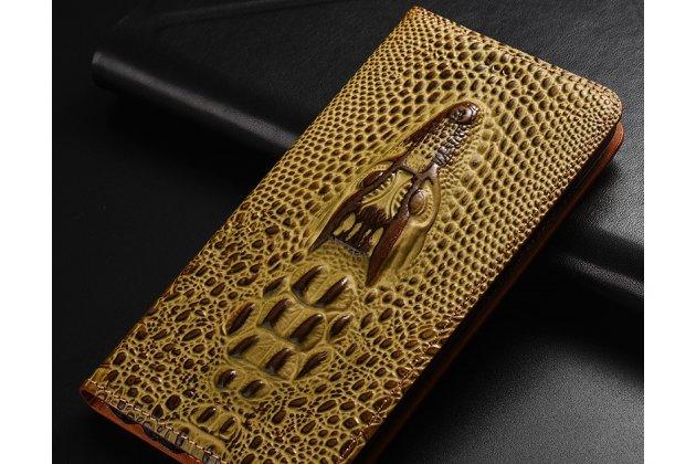 Фирменный роскошный эксклюзивный чехол с объёмным 3D изображением кожи крокодила коричневый для Huawei Honor 7C/ Huawei Honor Play 7A High . Только в нашем магазине. Количество ограничено