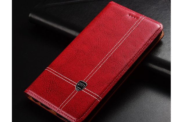 Фирменный премиальный элитный чехол-книжка из качественной импортной кожи с мульти-подставкой и визитницей для Huawei Honor 7C/ Huawei Honor Play 7A High красный