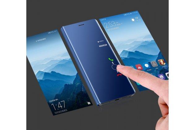 """Чехол-книжка с дизайном """"Clear View Cover"""" полупрозрачный с зеркальной поверхностью для Huawei Honor 7C/ Huawei Honor Play 7A High черный"""