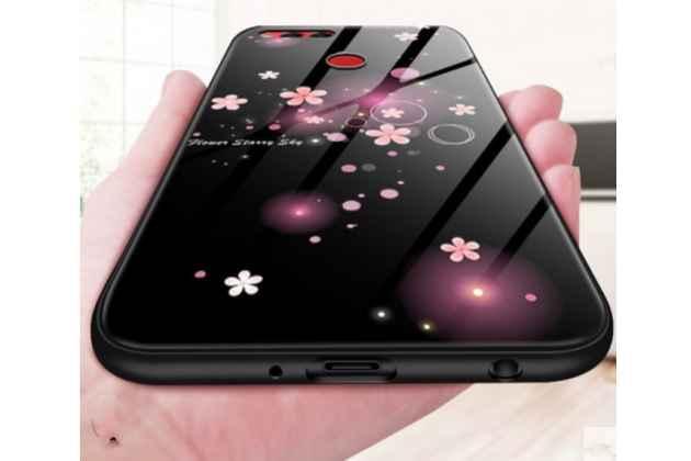 "Фирменная роскошная задняя панель-накладка с зеркальной поверхностью для Huawei Honor 7C/ Huawei Honor Play 7A High ""тематика Ночные цветы"" черная"