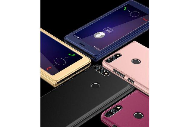 Фирменный оригинальный чехол-книжка для Huawei Honor 7C/ Huawei Honor Play 7A High / Y6 2018 черный с большим окошком для входящих вызовов водоотталкивающий