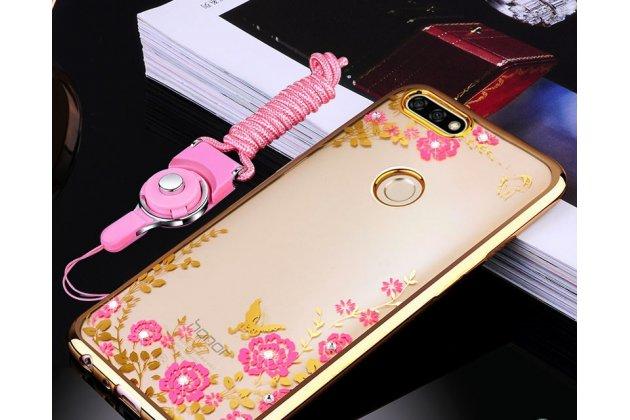 """Фирменная роскошная элитная силиконовая задняя панель-накладка украшенная стразами кристалликами и декорированная элементами для Huawei Honor 7C/ Huawei Honor Play 7A High """"тематика Сакура"""" золотая"""