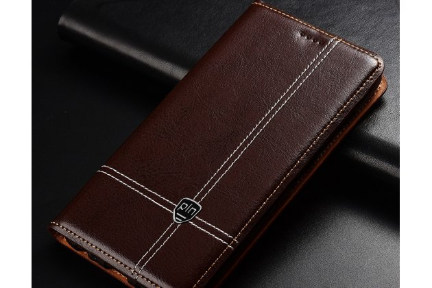 Фирменный премиальный элитный чехол-книжка из качественной импортной кожи с мульти-подставкой и визитницей для Huawei Honor 7C/ Huawei Honor Play 7A High коричневый