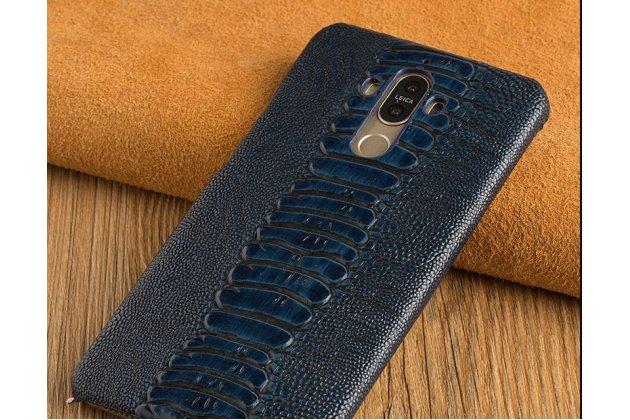 Фирменная элегантная экзотическая задняя панель-крышка с фактурной отделкой натуральной кожи страуса синего цвета для Huawei Honor 7C/Huawei Honor Play 7A High. Только в нашем магазине. Количество ограничено.