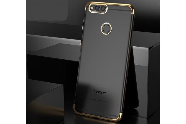 Фирменная задняя панель-чехол-накладка с защитными заглушками с защитой боковых кнопок для Huawei Honor 7C/ Huawei Honor Play 7A High прозрачная золотая