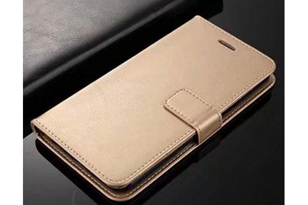 Фирменный чехол-книжка из качественной импортной кожи с подставкой застёжкой и визитницей для Huawei Honor 7C/ Huawei Honor Play 7A High золотой