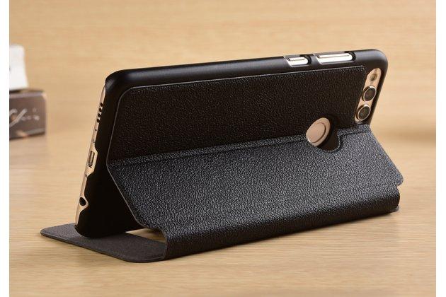 Фирменный чехол-книжка для Huawei Honor 7C/  Huawei Honor Play 7A High черный с окошком для входящих вызовов и свайпом водоотталкивающий