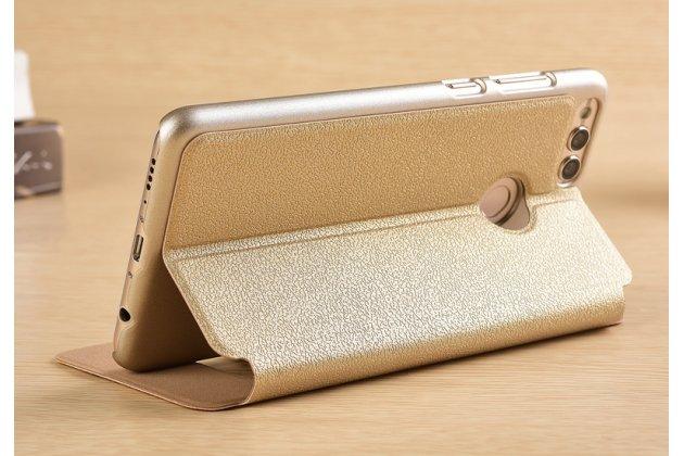 Фирменный чехол-книжка для Huawei Honor 7C/ Huawei Honor Play 7A High золотой с окошком для входящих вызовов и свайпом водоотталкивающий