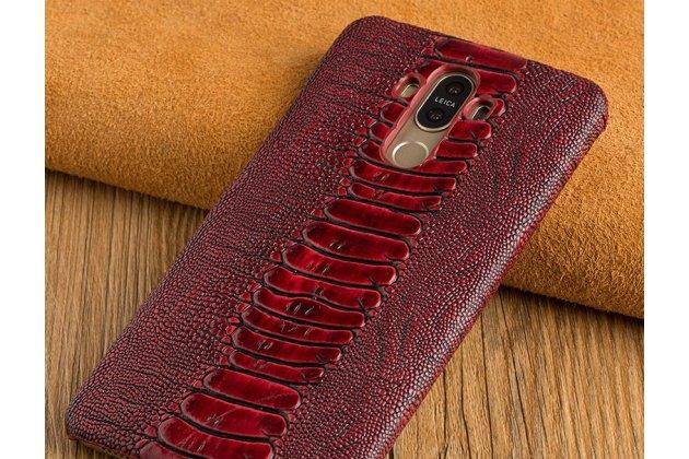 Фирменная элегантная экзотическая задняя панель-крышка с фактурной отделкой натуральной кожи страуса цвет красное вино для Huawei Honor 7C/Huawei Honor Play 7A High. Только в нашем магазине. Количество ограничено.