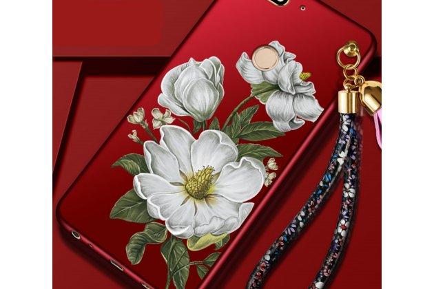 """Фирменная роскошная задняя панель-чехол-накладка  из мягкого силикона с безумно красивым расписным 3D рисунком на Huawei Honor 7C Pro/ Play 7C/ Y7 Prime 2018/ Nova 2 Lite """"тематика цветы жасмина"""""""
