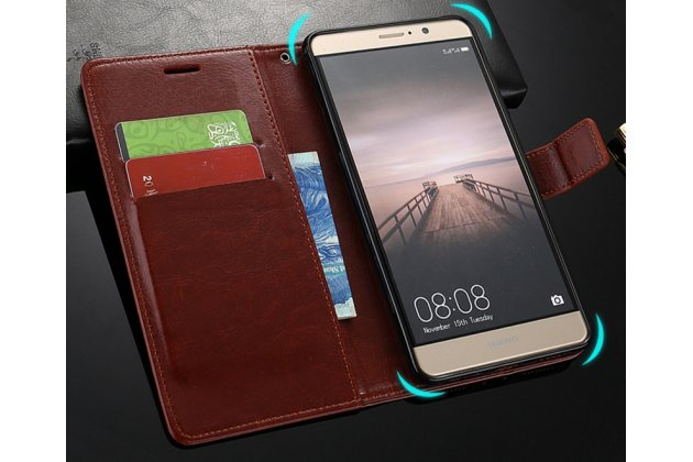 Фирменный чехол-книжка из качественной импортной кожи с подставкой застёжкой и визитницей для Huawei Honor 7C/ Huawei Honor Play 7A High коричневый