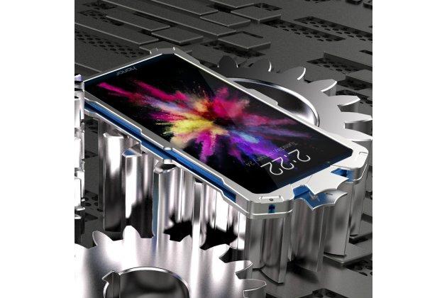 Противоударный металлический чехол-бампер из цельного куска металла с усиленной защитой углов и необычным экстремальным дизайном  для  Huawei Honor 7C/ Huawei Honor Play 7A High серебристого цвета