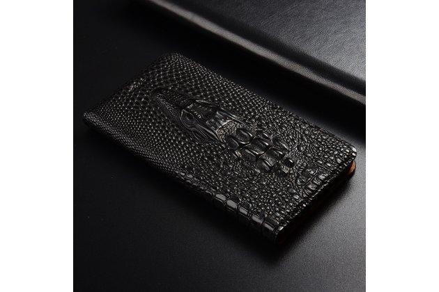Фирменный роскошный эксклюзивный чехол с объёмным 3D изображением кожи крокодила черный для Huawei Honor 7C/ Huawei Honor Play 7A High . Только в нашем магазине. Количество ограничено