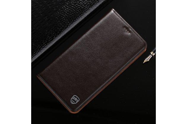 Фирменный чехол-книжка из качественной импортной кожи с подставкой и визитницей для Huawei Honor 7C/Huawei Honor Play 7A High коричневый