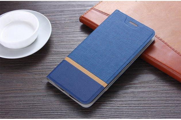 Фирменный чехол-книжка водоотталкивающий с мульти-подставкой на жёсткой металлической основе для ASUS ZenFone 5 Lite ZC600KL 3/ 4 синий из настоящей джинсы