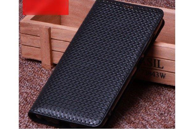 Фирменный роскошный эксклюзивный чехол с фактурной прошивкой рельефа кожи крокодила из натуральной кожи черный для ASUS ZenFone 5 Lite ZC600KL 3/ 4. Только в нашем магазине. Количество ограничено