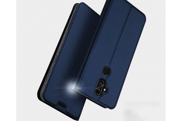 Фирменный чехол-книжка водоотталкивающий с мульти-подставкой на жёсткой металлической основе для ASUS ZenFone 5 Lite ZC600KL 3/ 4  синий