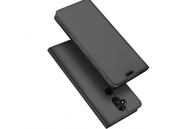 Фирменный чехол-книжка водоотталкивающий с мульти-подставкой на жёсткой металлической основе для ASUS ZenFone 5 Lite ZC600KL 3/ 4 серый