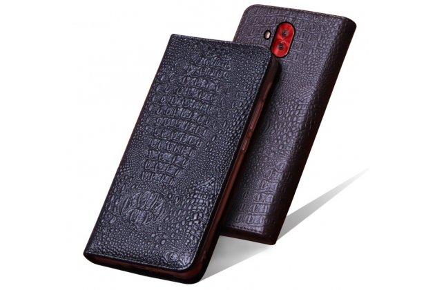 Фирменный роскошный эксклюзивный чехол с фактурной прошивкой рельефа кожи крокодила коричневый для ASUS ZenFone 5 Lite ZC600KL 3/ 4. Только в нашем магазине. Количество ограничено
